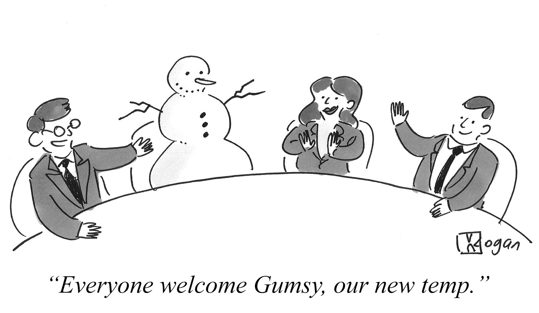 Cartoon about a temporary employee