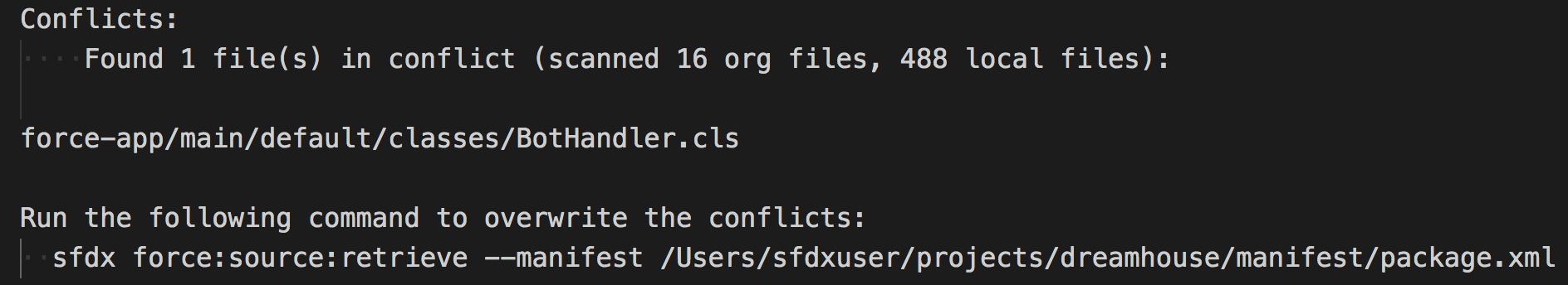 Output panel showing conflicts and CLI command