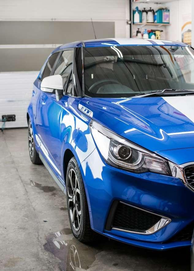 Blue MG3 car tinted rear side windows