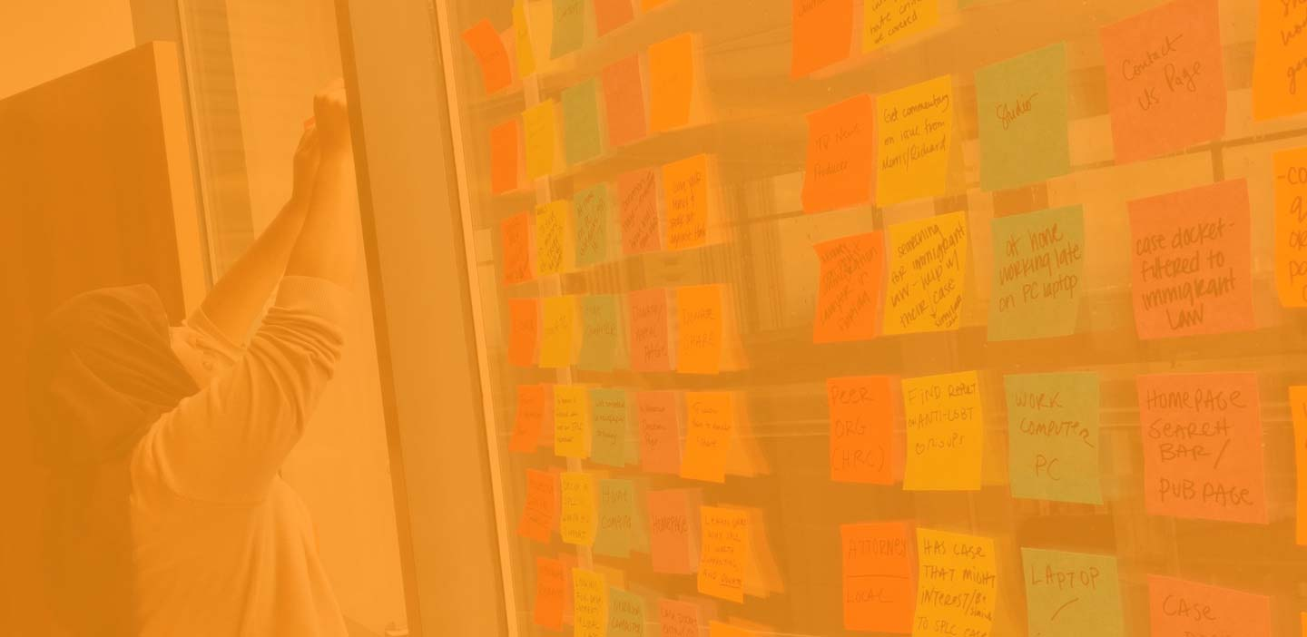 Background image: Woman arranging sticky notes during digital strategy session.
