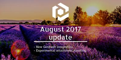 Cover image for August 2017 update: new GetSwift integration and attachment handling