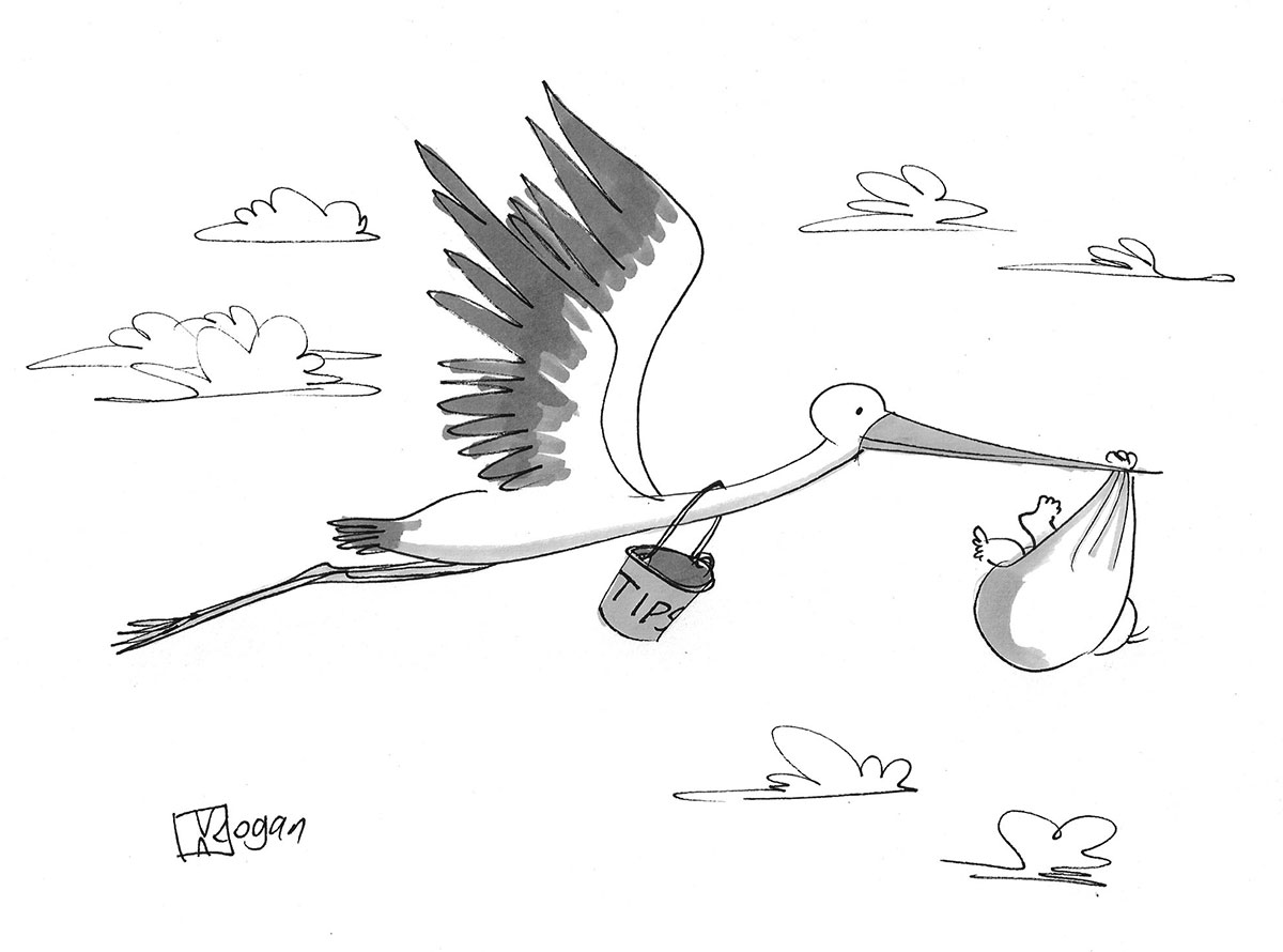 (Stork carries a baby and has a tip jar around its neck.)