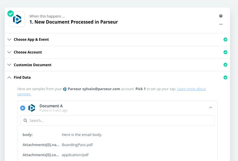 Zapier processes test data