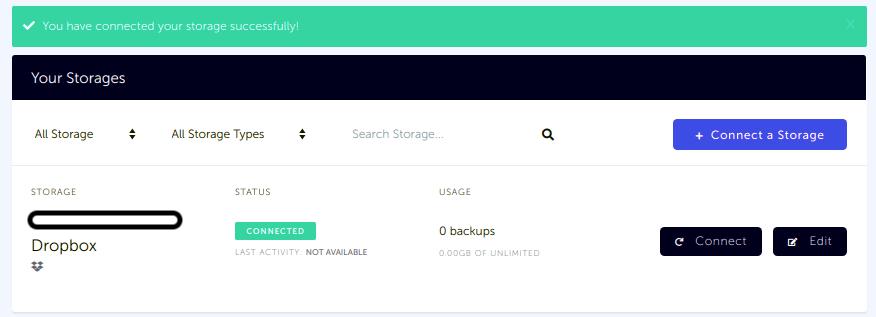 Storage list with newly created Dropbox storage