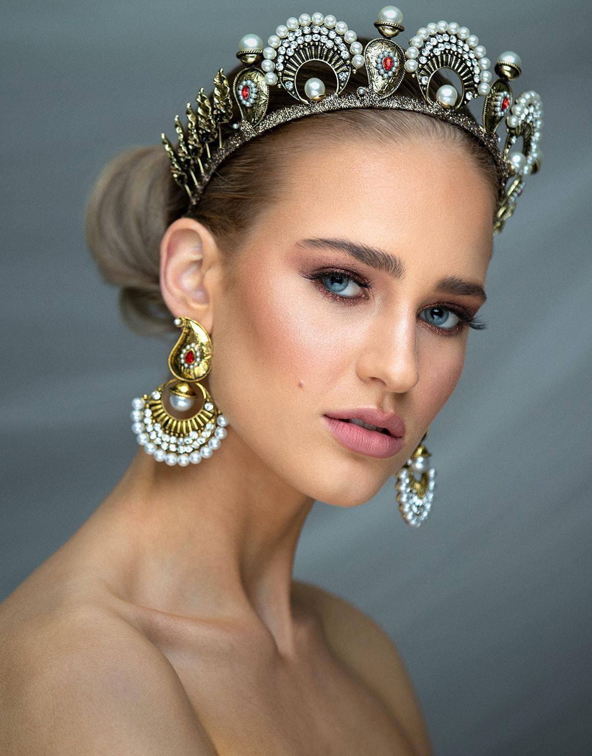women wearing a bridal crown