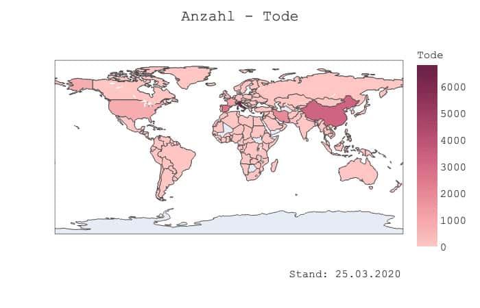 Weltkarte - Tode