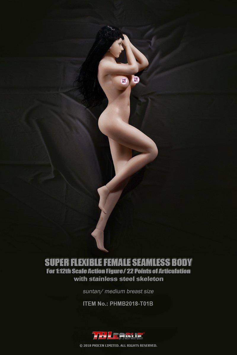 TBLeague T01B 1:12 Scale Figure Female Seamless Medium Bust Body (Suntan Skin Tone)