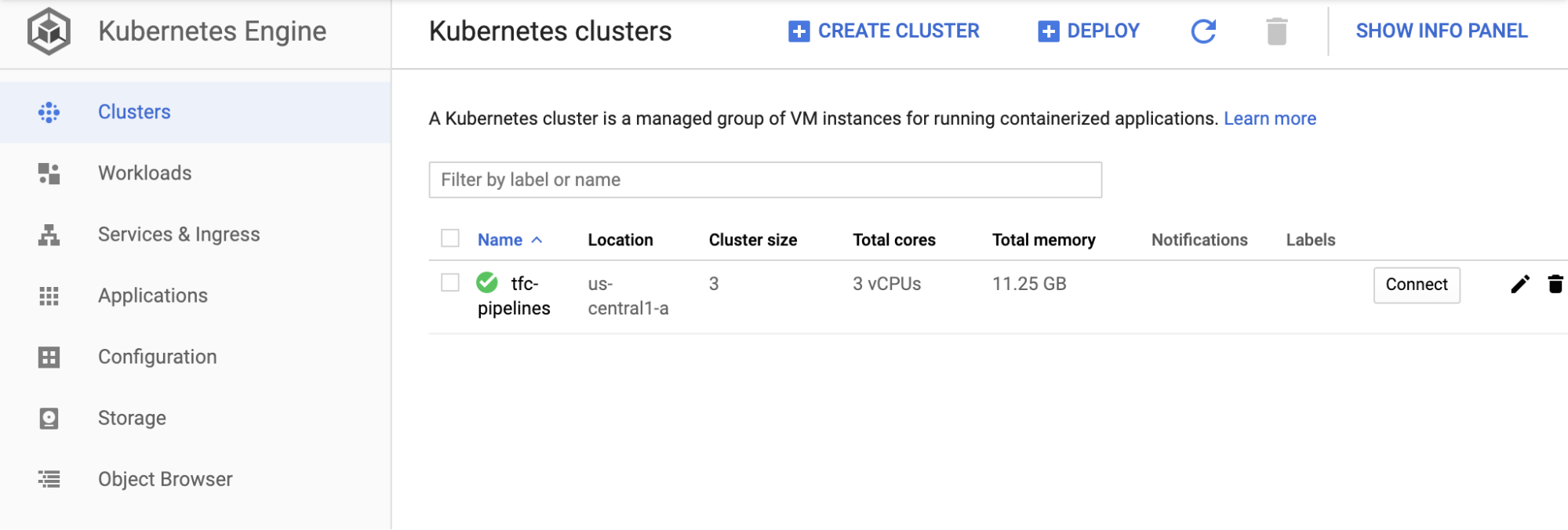 Google Cloud Kubernetes dashboard showing a GKE cluster named `tfc-pipelines` with 3 nodes
