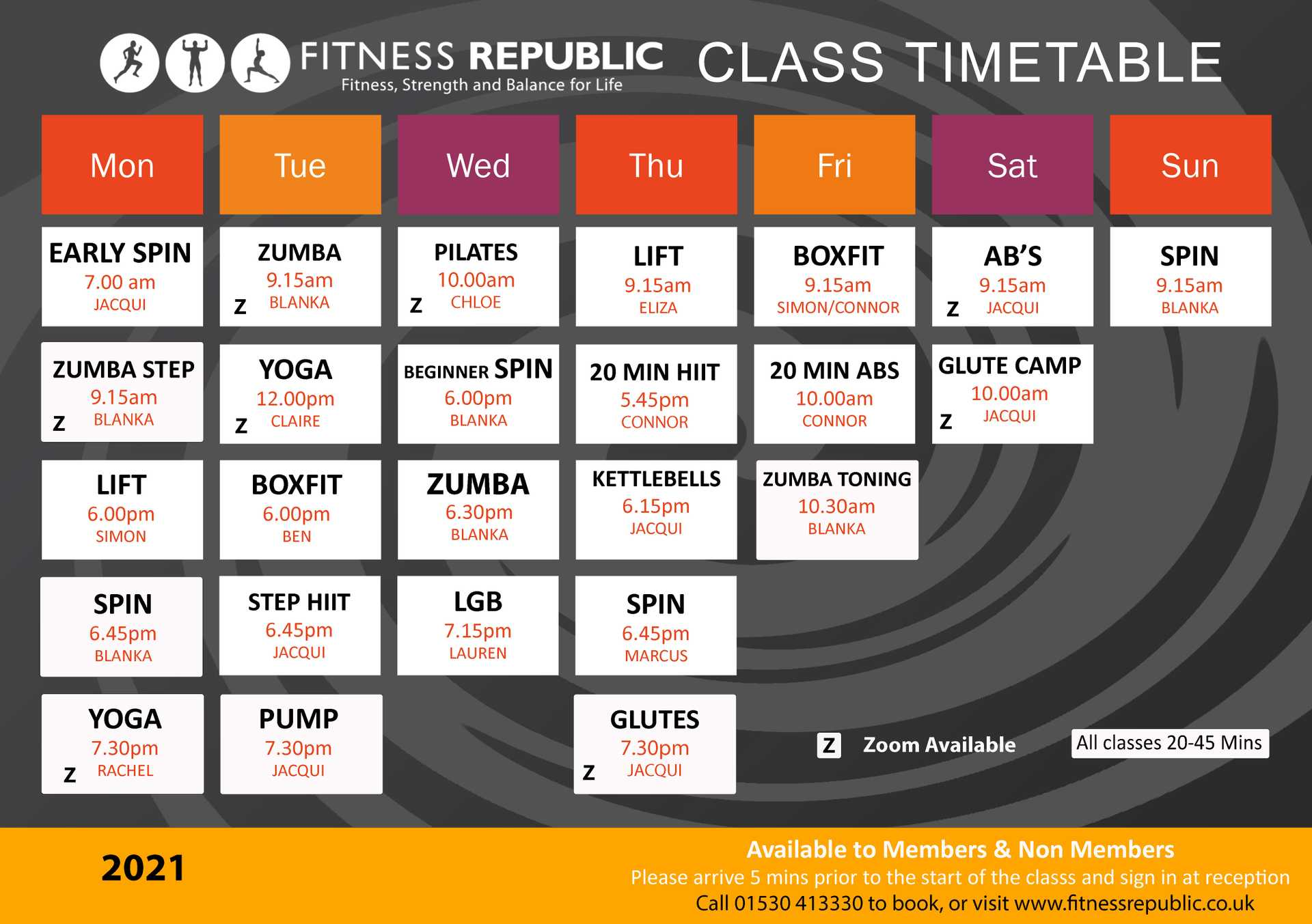 Fitness Republic Gym Ashby. Fitness Class Timetable
