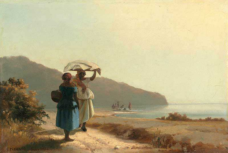 Pissarro's Two Women Chatting Next to the Sea, painted in the 1850s after Pissarro's return to St Thomas.