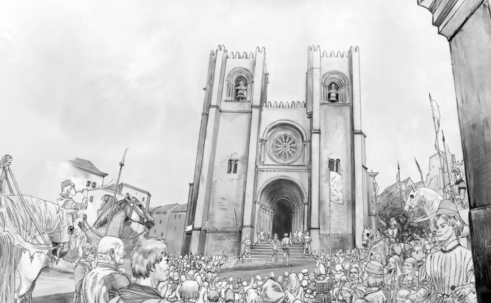 Atoleiros 1384 animatic — Se Lisboa with medieval crowd — Storyboard reconstitution