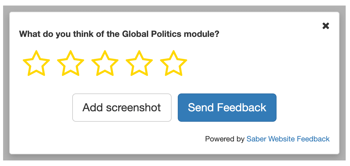 Example of a feedback form with star ratings
