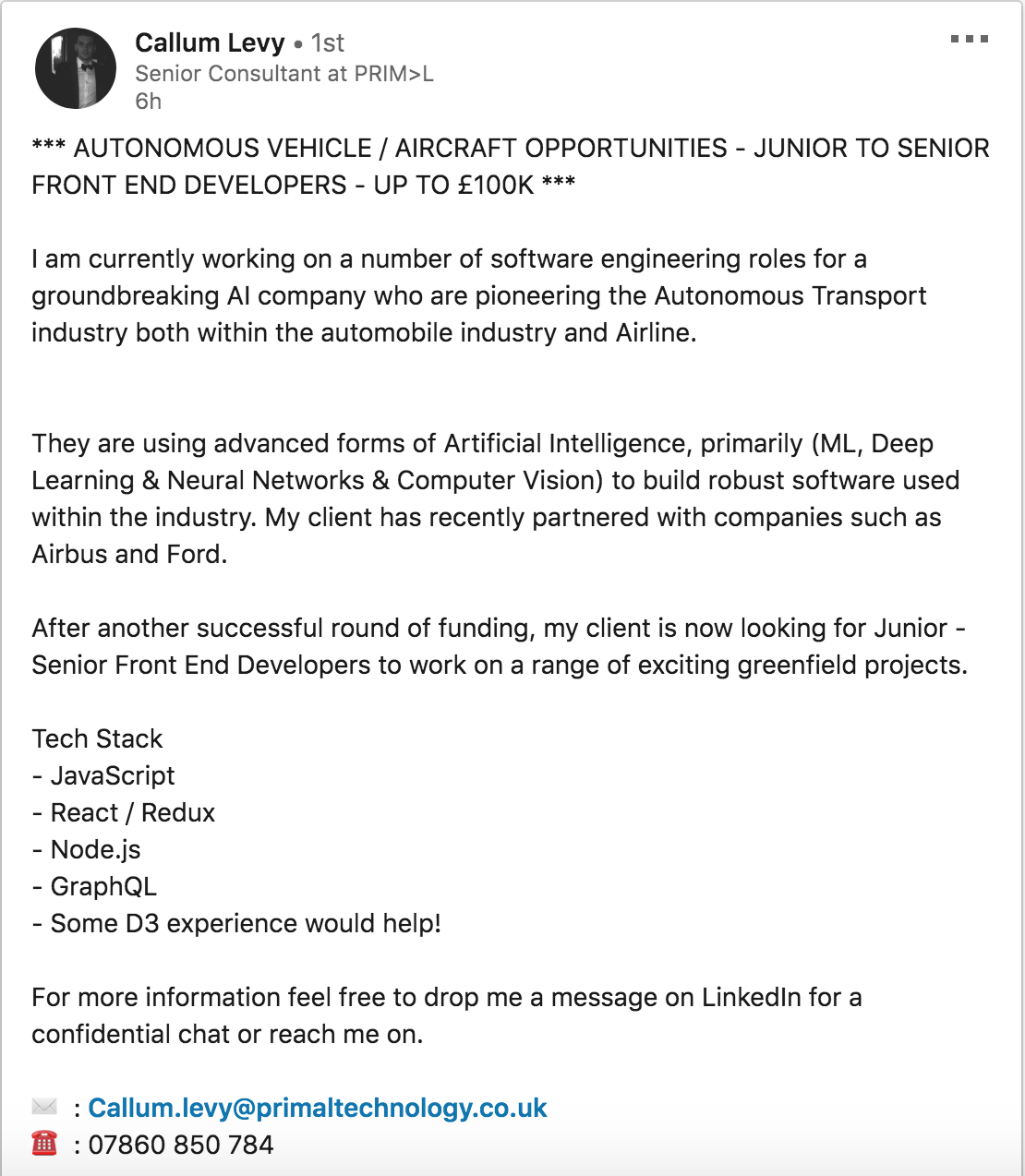 LinkedIn News Feed Job Role