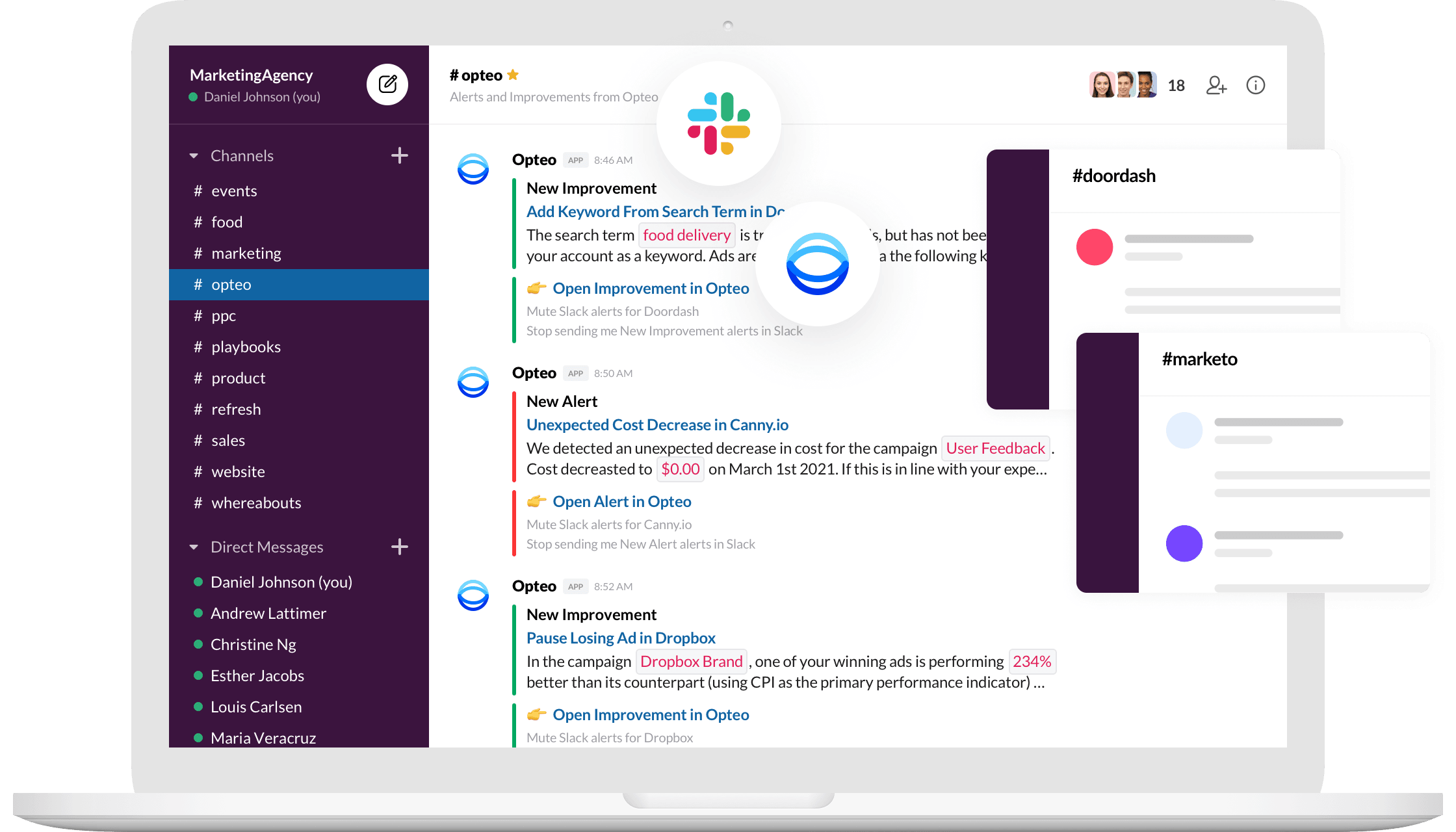 Slack app screenshot with Opteo alert notifcations being streamed into a channel.