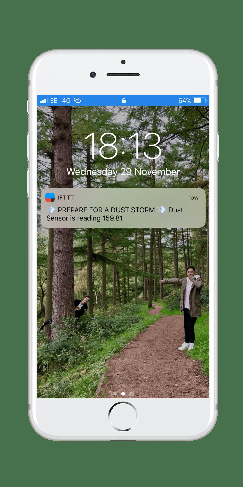 adafruit with ifttt dust sensor notification