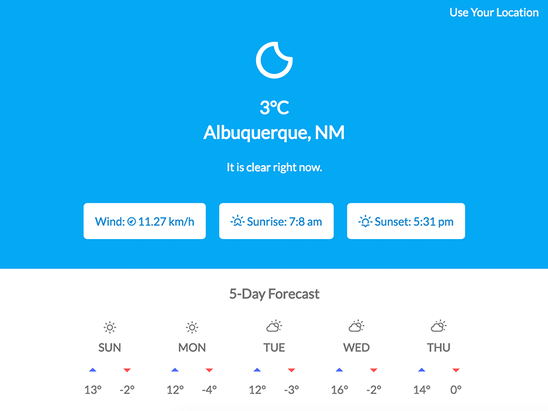 Final screenshot of weather app called Forecast It