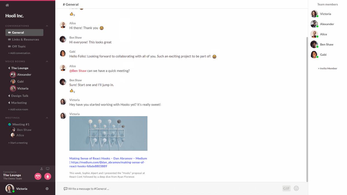 team chat conversation