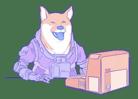 Kuvitus koirasta, joka istuu tietokoneen ääressä