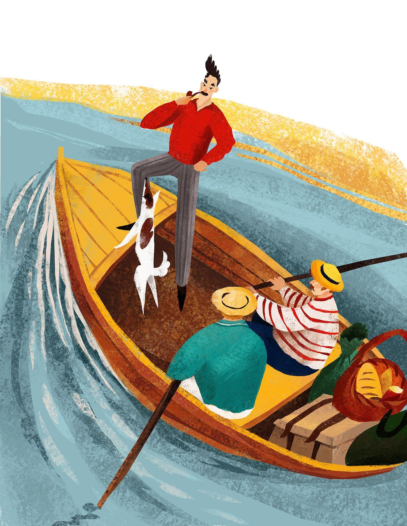 Иллюстрация кпроизведениям Джерома К. Джерома. Источник: www.behance.net/IrinaLisichkina