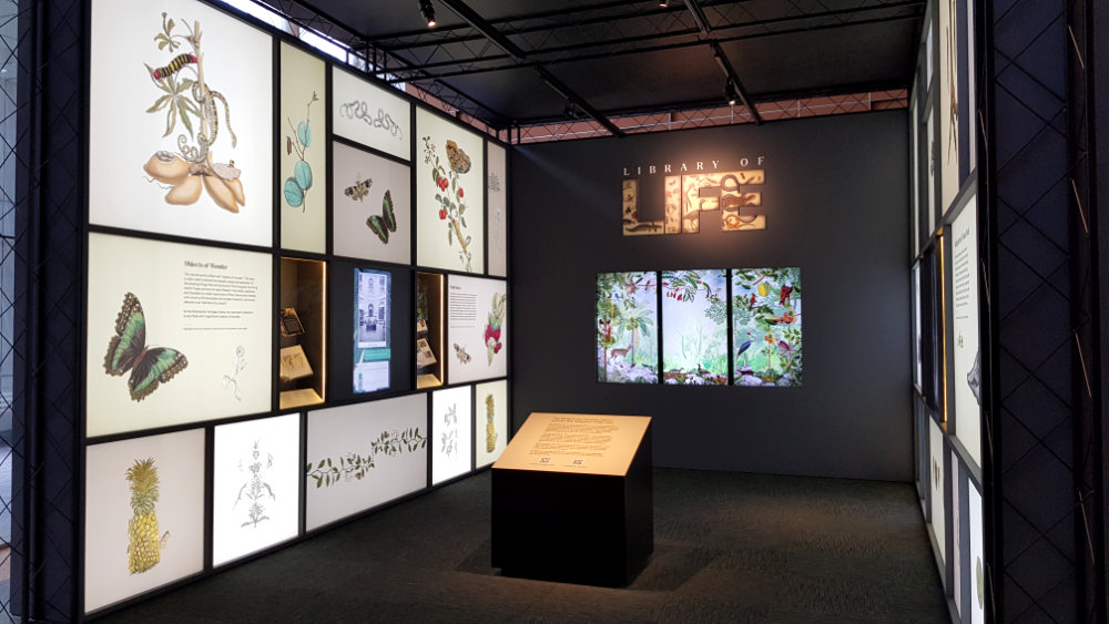A photo of the Library of Life exhibit