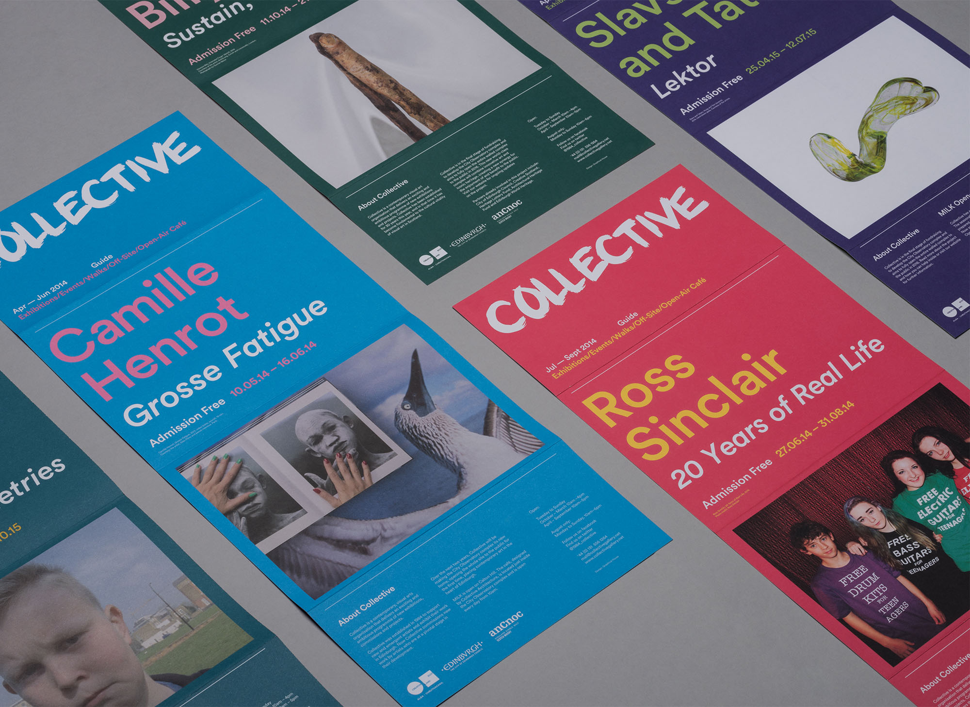 Various leaflets for Collective Gallery