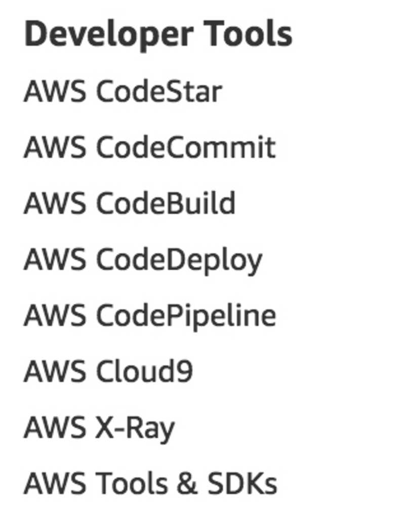 Developer Services as listed on aws.amazon.com