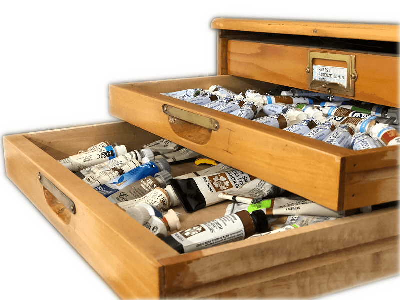 open drawer of paints