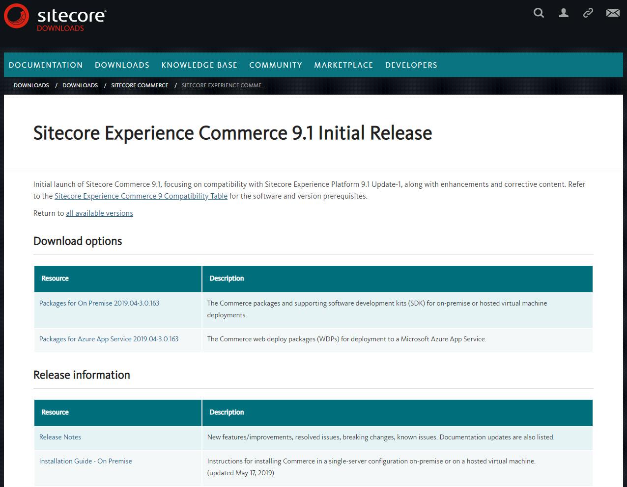sitecore commerce 9.1 download page