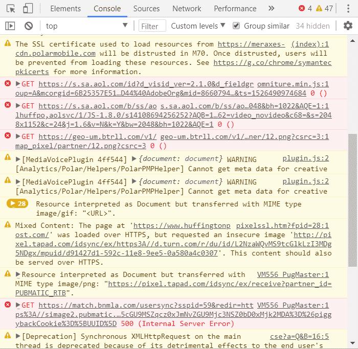 Screenshot of developer tools