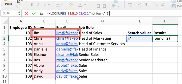 An Excel spreadsheet containing four columns of data: Employee Name, ID, Email Address, and Job Role. In this instance, a match_mode argument has been added to the XLOOKUP formula.