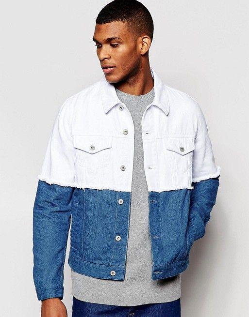 Veste en jean homme bleue sur la partie haute blanche sur la partie basse