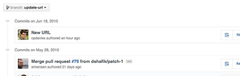 The new feature branch with my additional commit.