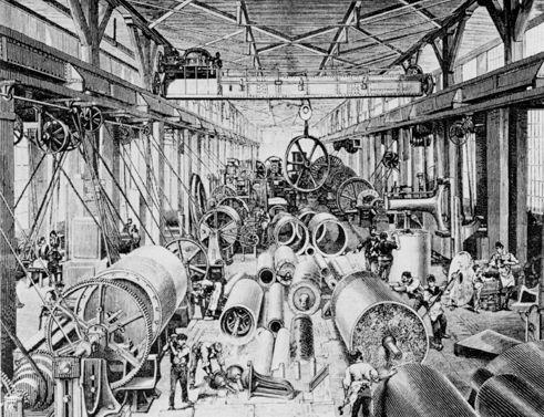 Die Montagehalle der Maschinenfabrik by Escher Wyss in Zürich , 1875\. Public Domain.