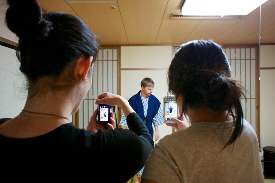 Chris in yukata, Sarah and Ibis photographing