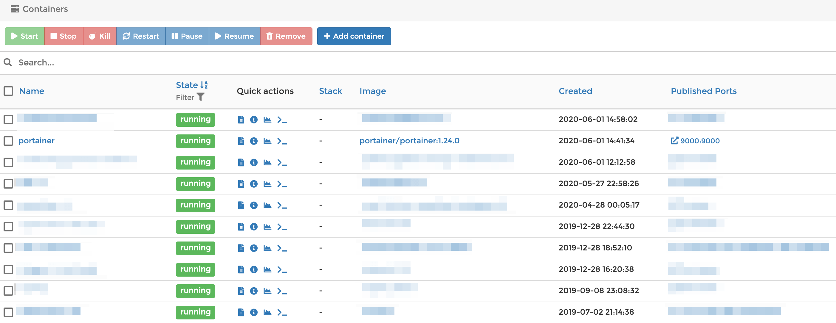 List of existing Docker containers