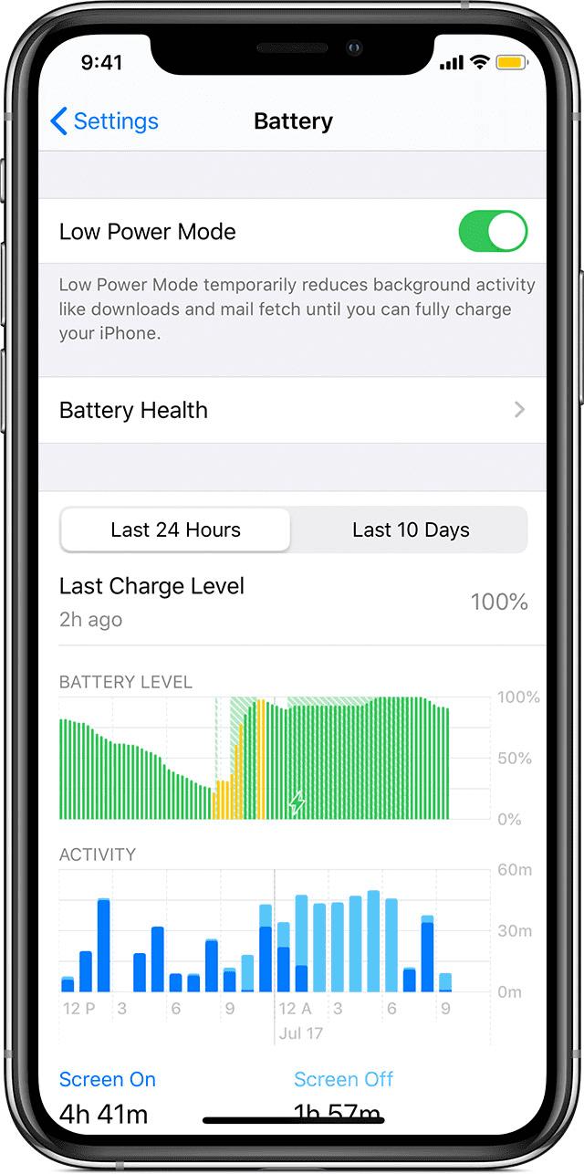 battery in settings