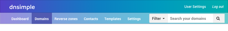 New one account header DNSimple