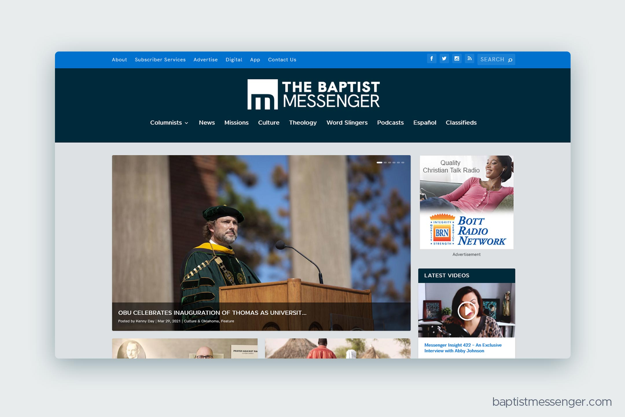 The Baptist Messenger website, themed with the new Oklahoma Baptists identity system