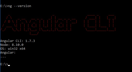 Angular CLI version output