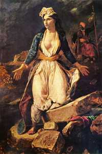 Greece on the Ruins of Missolonghi, by Eugene Delacroix in 1826, Musée des Beaux-Arts, Bordeaux