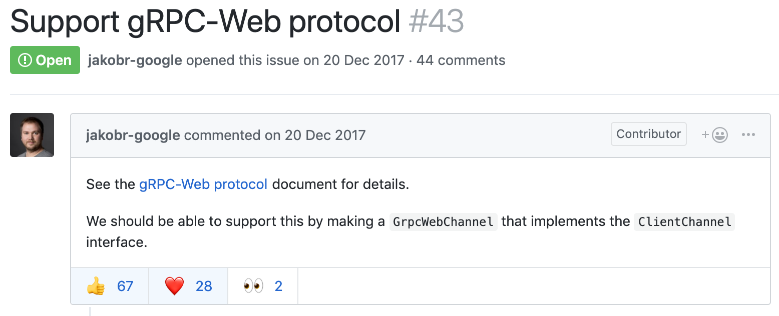 The issue ticket for gRPC-Web support has been open for some time in the gRPC-dart repository.