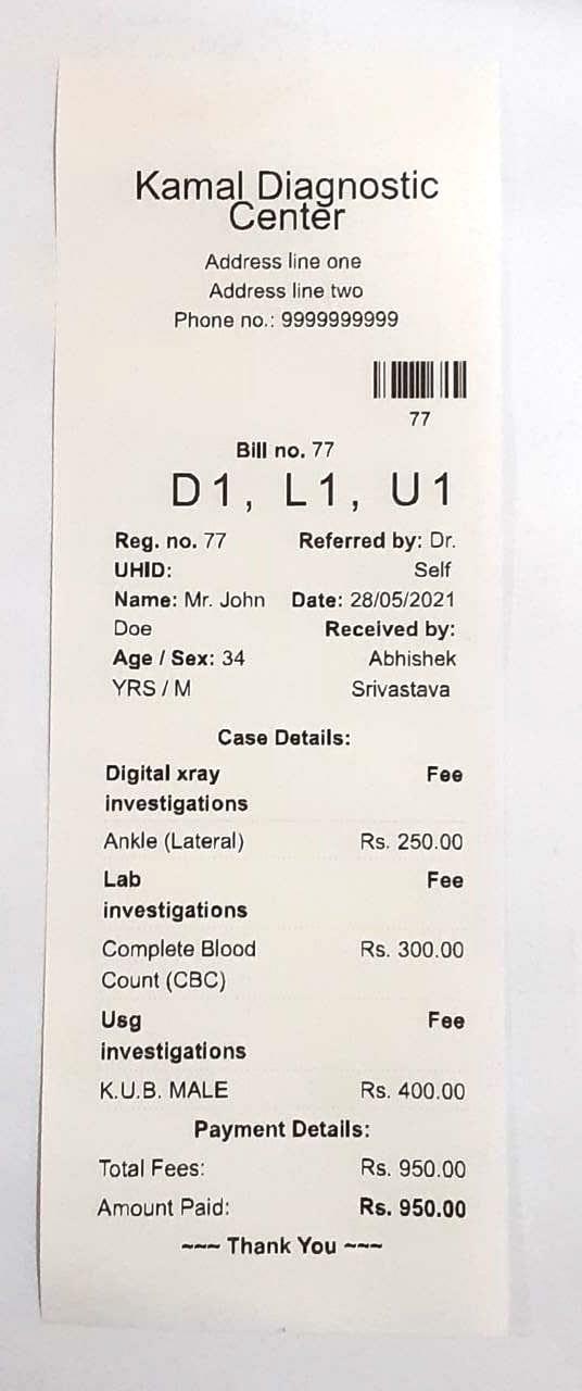 Sample thermal printer bill