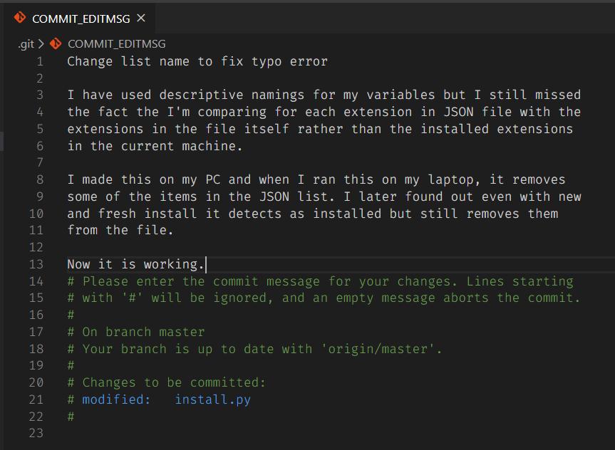 VS Code commit editor