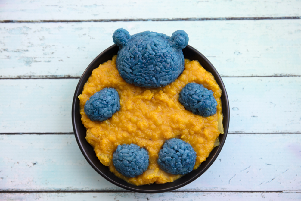 Vegan Blue Rice Bear in Dal
