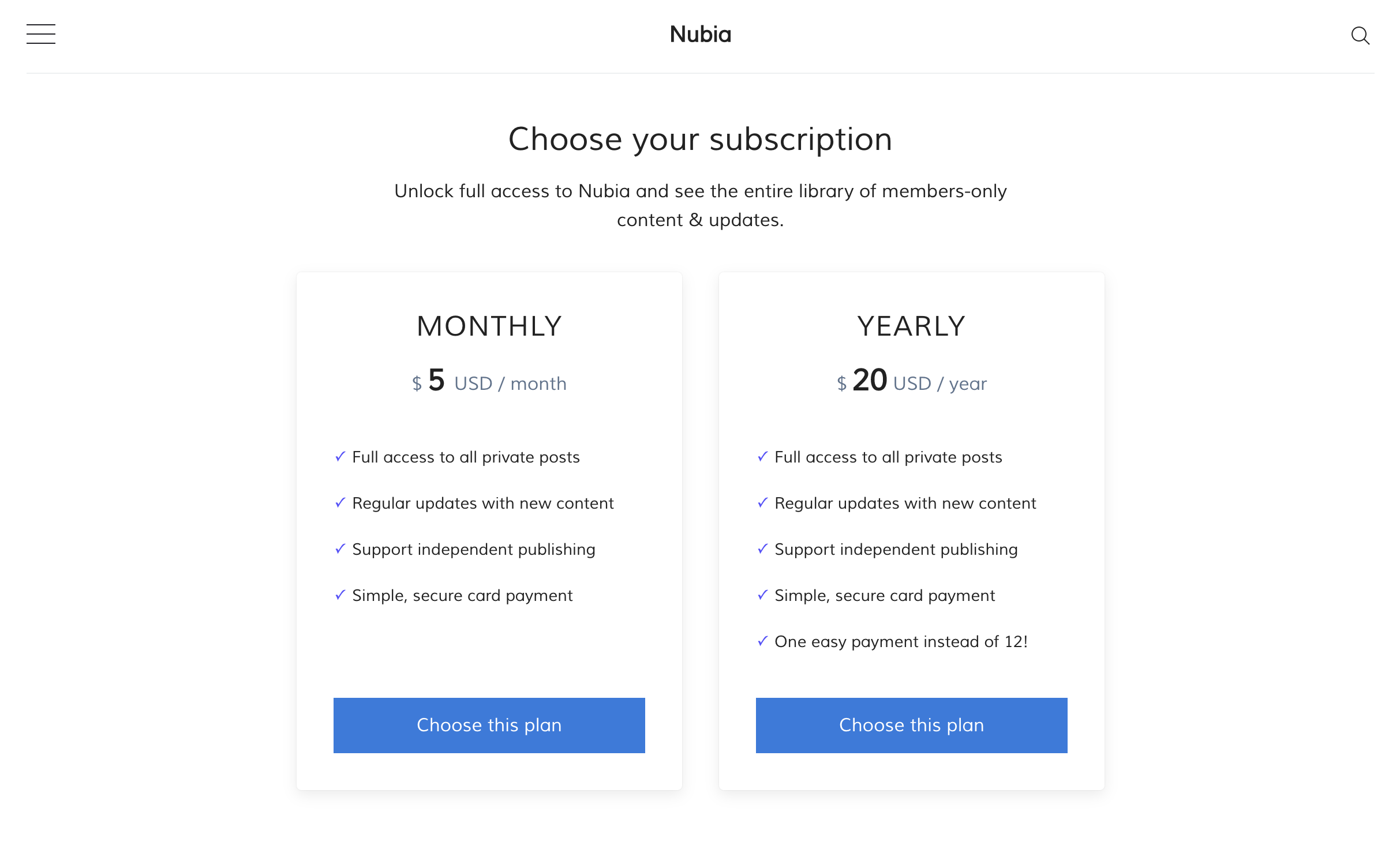 Subscription plans in Maxima