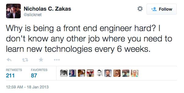 Um tweet falando sobre como a profissão de frontender é difícil