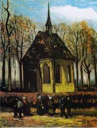 Congregation Leaving the Reformed Church in Nuenen by Van Gogh, 1884, Van Gogh Museum, Amsterdam