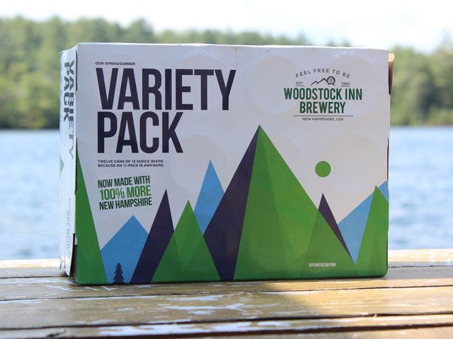 A variety pack of Woodstock Inn Brewery beers. It included the Red Rack Ale, Pig's Ear Brown Ale, Lost River Light, and Exit 32