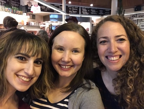 Literary manager, Rachel Bykowski, director of the reading, Erin Kraft, and myself getting tasty food after the reading of ONCE A SPY.