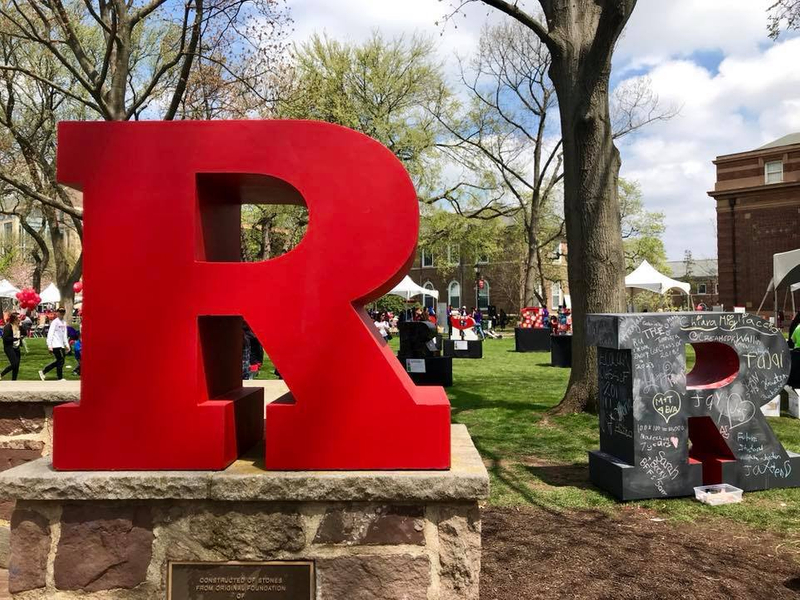 Large red R on the campus quad of Rutgers University